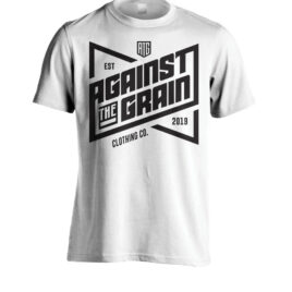 AGAINST THE GRAIN Est19 Tall Tee White