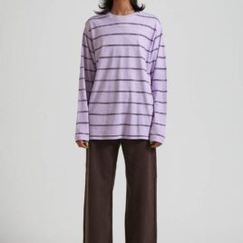 AFENDS REVOLVE- LILAC Hemp Stripe Long Sleeve Tee