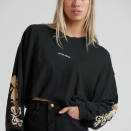 AFENDS Consequences- Hemp Cropped LS Tee
